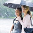 Two women in a riany weather — Stock Photo