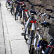 Bicycles near the wall — Stock Photo