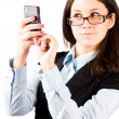 Young woman with pocket computer — Foto Stock