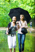 Two girls rejoice to rainy weather — Stock Photo