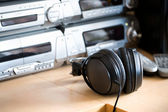 Table with audio equipment — Stock Photo