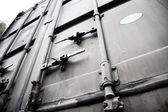 Metallic doors of transport container — Stock Photo