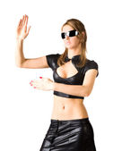 Young woman in black martial art pose — Stock Photo