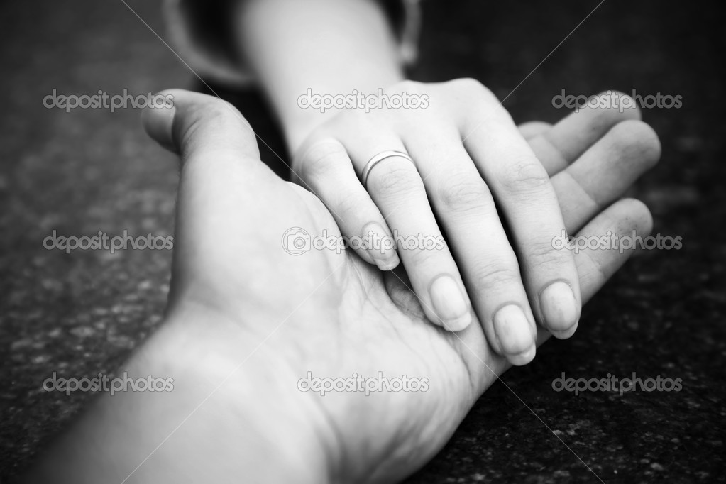 Helping hand. Black and white concept. — Stock Photo #1801544