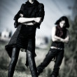 Two goth women outdoors - Stock Photo
