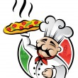 pizzaiolo chef — Vettoriale Stock