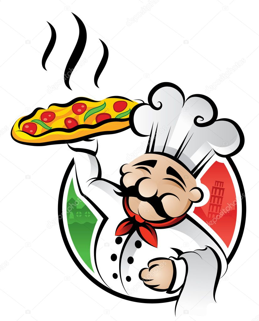 Illustration of an italian cartoon chef with a freshly baked pizza — Stock Vector #2231828
