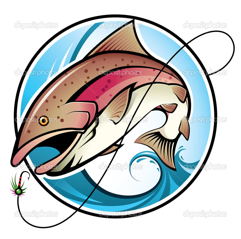Illustration of a rainbow trout jumping out of the water to catch a bait — Stok Vektör #2231830