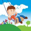 Boy on a Swing - Stock Vector
