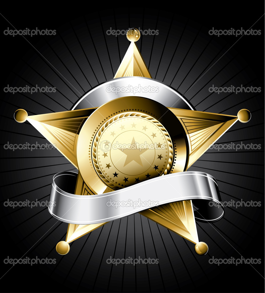 Golden sheriff badge design with a silver ribbon for text  Stock Vector #2268121