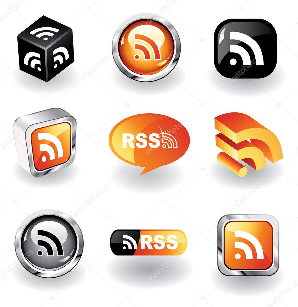 Collection of 9 glossy RSS feed icons — Grafika wektorowa #2268974