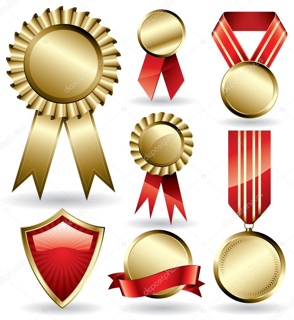 Set of shiny red and gold award ribbons  Stock Vector #2269054