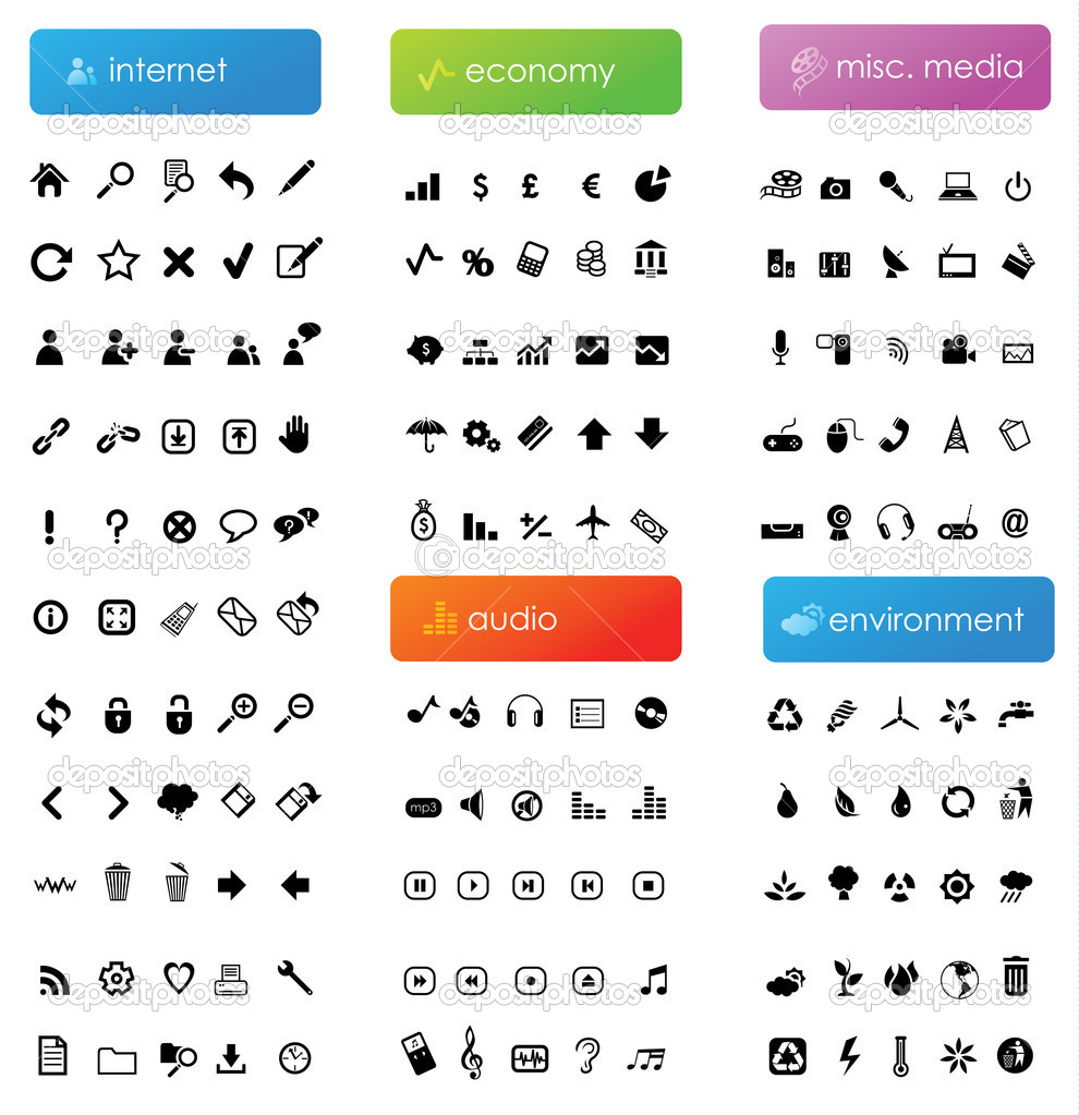 155 vector icons divided into five categories (internet, economy, audio, misc. media and environment) — Векторная иллюстрация #2269328