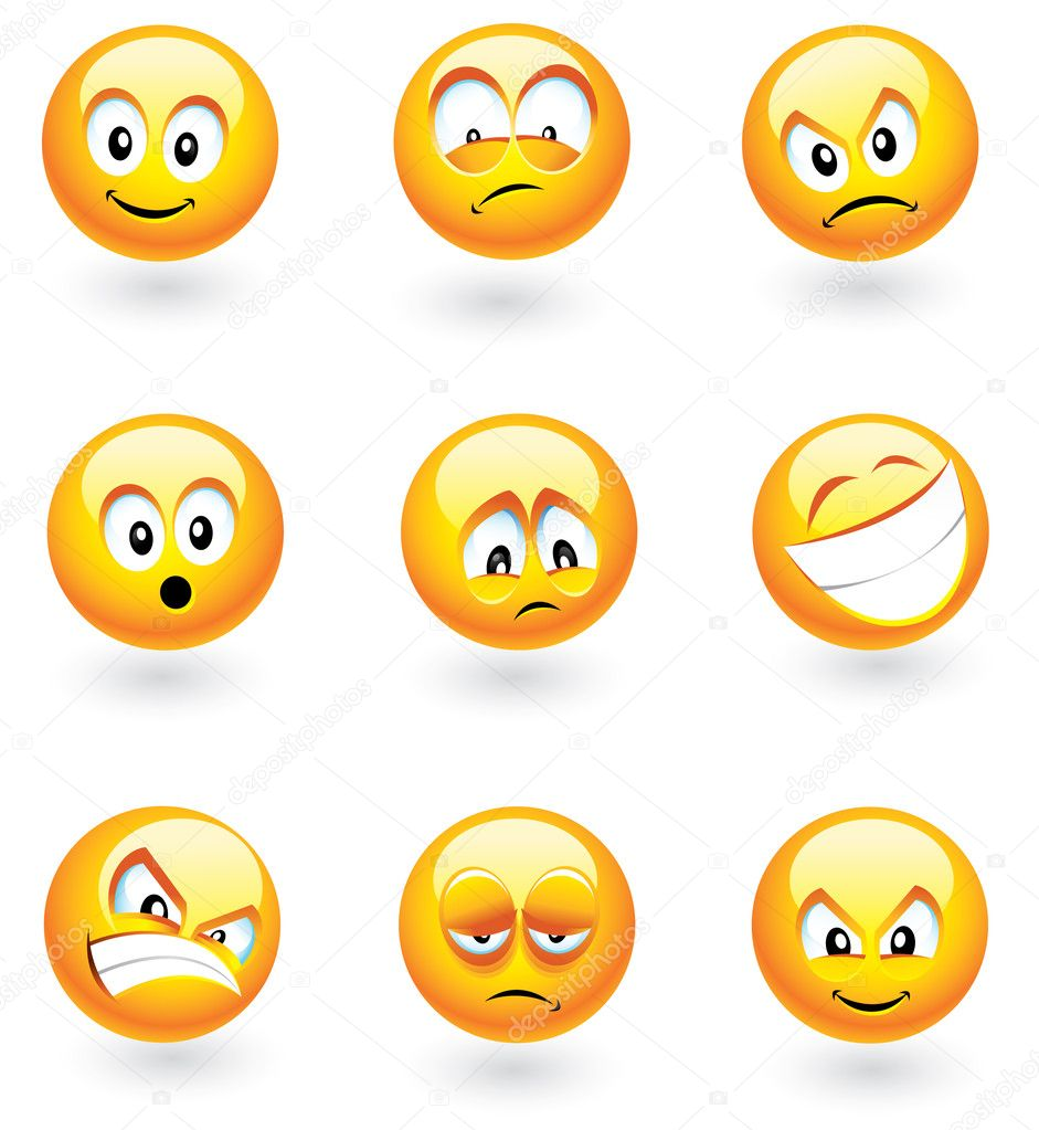 Set of nine smilies with different expressions — Stock Vector #2269357