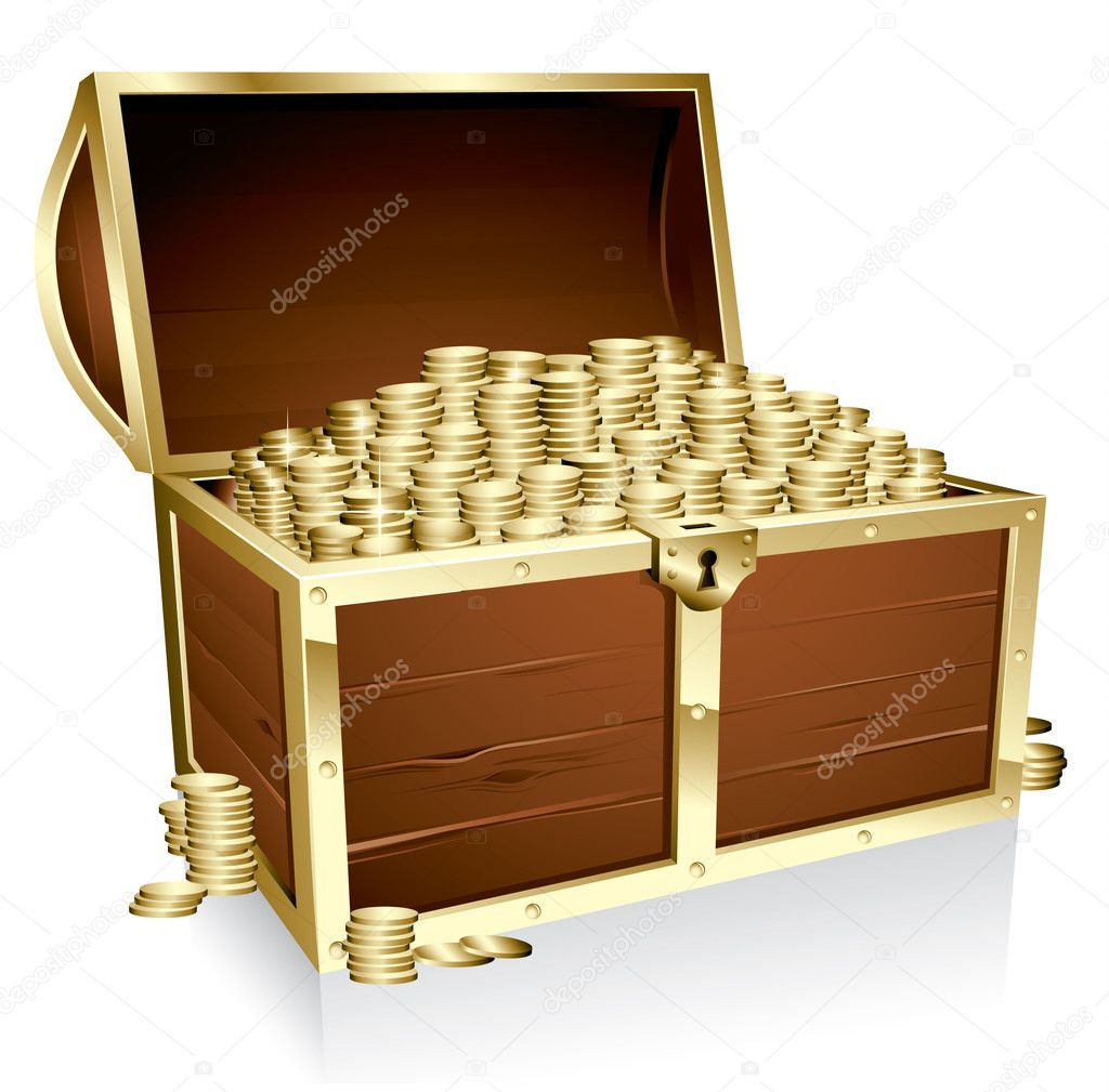 Wooden treasure chest loaded with golden coins — Stock Vector #2481402