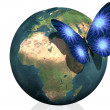 Earth with cool butterfly colorful creat - Stock Photo