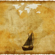 Royalty-Free Stock Photo: Old world map on grunge retro paper
