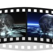 Film stripe with 4 images of the earth i — Stock Photo