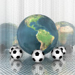 Soccer ball with earth — Stock Photo #1145863