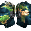 Two 3D head with earth texture with head — Stock Photo #1145873