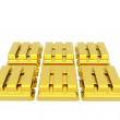 Stock Photo: Stacked bars of gold bullion on white