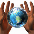 3D earth on 3D hands - Stock Photo
