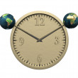 Royalty-Free Stock Photo: Wall clock with two earth isolated on wh