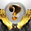 Stock Photo: 3d golden question mark in hands