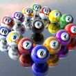 Fifteen pool billiard balls — Stock Photo #1146229