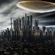 3d alien UFO space ship - Stock Photo