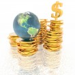 Coins with 3D globe isolated on a white — Stock Photo #1146375