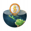 Stock Photo: Us dollar coin on earth hemisphere isola