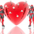 Stock Photo: 3d soldiers ward red 3d heart backgrou