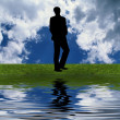 Man silhouette on the grass — Stock Photo #1146749