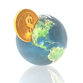 Coins with 3D globe isolated on a white — Stock Photo