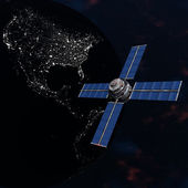 Satelite sputnik orbiting earth in space — ストック写真