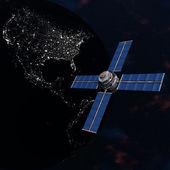 Satélite sputnik orbitando la tierra en el espacio — Foto de Stock