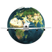 Airliner with earth — Stock Photo