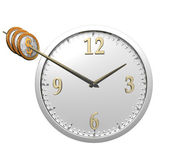 Wall clock with coins isolated on white — Stock Photo