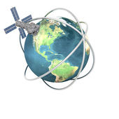 Satelite sputnik orbiting earth — Stockfoto