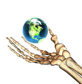 3D earth in bones hand — Stock Photo