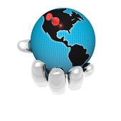 3D earth in bright hand isolated on a wh — Stock Photo
