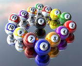 Fünfzehn pool billardkugeln — Stockfoto