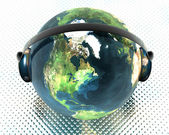 3D music globe with headphone — Stock Photo