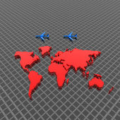 World map with airplane — Stock Photo