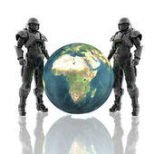 3d soldiers in a gas mask with earth — Stock Photo