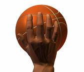 3d hand with basket ball isolated on a w — Stock Photo