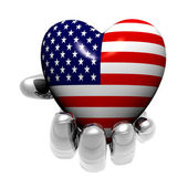 Heart with US flag texture isolated on a — Stock Photo