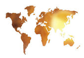 Golden world map silhouette isolated on — Stock Photo