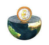 Euro coin on earth hemisphere isolated o — Stock Photo